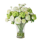 Winward Designs - Ranunculus In Glass Vase Flower Arrangement - The growing season for ranunculus and viburnum is painfully short for any true flower lover. So why not invest in a permanent display of your favorite springtime florals? The 17-inch tall bouquet can be enjoyed on your dining room table all year-round, and you won't have to worry about the growing season ever again!