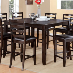 "East West Furniture - Fairwinds Counter Height Dining Table with 18"" Butterfly Leaf in Cappuccino - Fairwinds Gathering Counter Height Dining Square 54"" Table with 18"" Butterfly Leaf Finished in Cappuccino; This counter height pub set features a solid wood table & chairs in an elegant cappuccino color.; The dining set's table & chairs have an easy-care satin finish.; The squared table top has a butterfly leaf shaped to fit into the table seamlessly.; This pub set features a choice of wood seating or upholstered bar stool seats.; A Fairwinds dining set blends equally well with contemporary or period styles.; Its clean lines look modern, while its solid wood construction evokes traditional craftsmanship.; Weight: 95 lbs; Dimensions: 36-54""L x 54""W x 36""H"