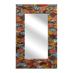 Tymon Water Hyacinth Wall Mirror - *Featuring a batik pattern, the Tymon water hyacinth wall mirror has a boldly colored frame and adds a bohemian flair to any wall.