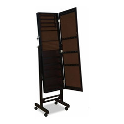 """ACMACM97066 - Iggy Espresso Finish Wood Free Standing Cheval Mirror Jewelry Armoire Cabinet - Iggy espresso finish wood Free standing cheval mirror jewelry armoire cabinet. Measures 16"""" x 15"""" x 60""""H. Some assembly required."""