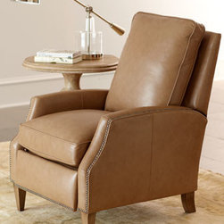 Horchow - Eldwin Leather Recliner - This definitely isn't your dad's recliner. Luxurious top-grain leather in a worn beige hue, gunmetal-gray nailhead trim, and tapered legs with a worn patina finish give it a modern look that fits into any decor. Soft, loose seat and back cushions add co...