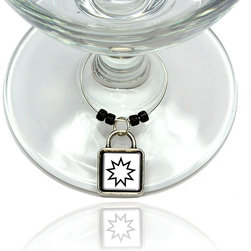 """Made on Terra - Bahai Star Wine Glass Silver Charm - Your guests have arrived and the atmosphere is electric. A sip of wine here, a sip of a cocktail there and you find the conversation turning to the charming baubles you've placed on the glasses, something special you chose for each of your eclectic guests. They love them and appreciate your thoughtfulness. You love them for their uniqueness and that no one forgets which glass they were using.  Choose from Made on Terra's many designs for the best party ever. Ring is 1"""" diameter; measures 2"""" from top of ring to bottom of charm. Made of metal and plastic. Sold individually."""