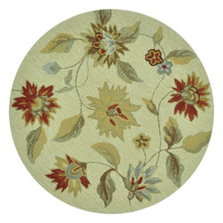 Loloi - Country & Floral Summerton Round 3' Round Ivory-Red Area Rug - The Summerton area rug Collection offers an affordable assortment of Country & Floral stylings. Summerton features a blend of natural Ivory-Red color. Hand Hooked of 100% Polyester the Summerton Collection is an intriguing compliment to any decor.