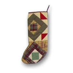 Patch Magic - Square Diamond Stocking - 8 in. W x 21 in. L. 100% Cotton. Machine washable.. Line or flat dry onlyGorgeous and unique hand quilted Christmas stocking.