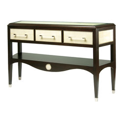 Kathy Kuo Home - Samuel Ivory Shagreen Espresso French Deco Console Table - This deco-inspired server looks sleek and chic in a coffee finish with three acrylic-and-silver handled drawers and a shelf for plenty of dividing, dishing and display space. But the real killer details are the drawer fronts, sides and top in an ivory sharkskin pattern. Keep your serveware out of sight and in high style.