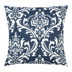 Look Here Jane LLC - Damask Navy Pillow Cover - PILLOW COVER