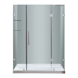 """Aston - Aston 60x77.5, Completely Frameless Hinge Shower Door, Right Base - Instantly transform your existing shower alcove space and upgrade your bath's design with the SDR983 60"""" Completely Frameless Hinge Shower Door. Constructed of durable 6mm ANSI-certified tempered clear glass and chrome or stainless steel finish hardware, you can achieve a custom-look in your bath. Deluxe clear seal strips prevent leakage which allows for this completely frameless design. The SDR983 also includes two interior glass shelves designed with convenience and functionality in mind. This model is configured for reversible left or right hand door installation and can be paired with an optional left, center or right configured 2.5"""" low profile acrylic fiberglass enforced base."""