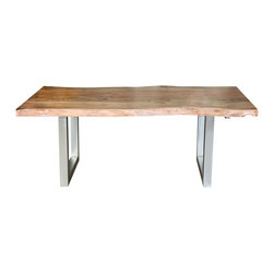 Sierra Living Concepts - Rustic and Contemporary Iron Base Organic Live Edge Dining Table - You've come to expect the best in quality and style from Sierra Living Concepts; this rustic contemporary large live edge dining table certainly combines both in a big way.