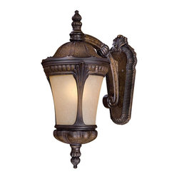 Minka Lavery - Minka Lavery Outdoor 9143-407-PL Kent Place Prussian Gold 1 Light Wall Sconce - Double French Scavo Glass Shade