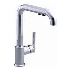 KOHLER - KOHLER K-7505-CP Purist Single-Hole Kitchen Sink Faucet with Pullout Spout - KOHLER K-7505-CP Purist Single-Hole Kitchen Sink Faucet with Pullout Spout in Polished Chrome