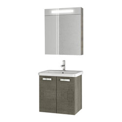 ACF - 22 Inch Grey Oak Bathroom Vanity Set - Need a bathroom vanity? This one is a wall mounted modern & contemporary bath vanity that will fit perfectly into your contemporary bath. Manufactured in Italy by ACF, this decorative bathroom vanity is built with quality engineered wood and mirrored glas