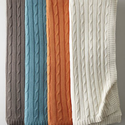 "Horchow - Cable-Knit Throw - The classic cable-knit throw looks thoroughly modern in an array of trendy colors. Hand knit of cotton. Select color when ordering. Machine wash. Approximately 60"" x 50"". Imported."