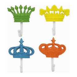 Resin Crown Coat Hook, Orange - Give your wardrobe the royal treatment by hanging it on our set of resin crown coat hooks. They come in a variety of colors and styles.