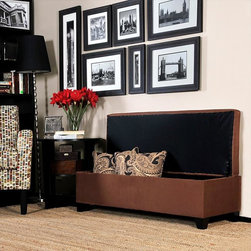 PORTFOLIO - Portfolio Blane Dark Brown Microfiber Wall Hugger Bench Trunk Storage Ottoman - This Portfolio Home Furnishings Blane wall hugger bench is covered in high-performance dark brown microfiber fabric. This storage ottoman is designed to be able to fit up against a wall while still being able to open the lid easily.