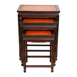 Oriental Furniture - Rosewood Nesting Tables - Two-tone - A beautiful and practical home decor accessory, a set of three kiln dried Rosewood nested tables. Provides extra table tops for snacks and beverages when occasions call for it, and stack neatly and attractively when not in use. The distinctive two-tone stain accentuates the classic oriental design, creating a lovely Asian decorative accent, stable and beautiful. These nested table sets provide an interesting and elegant alternative to a set of folded TV trays in a corner of the living room or family room. With a lamp on the top table, the other two tables are always quickly and conveniently available for snacks, drinks, crafts, games, or puzzles.