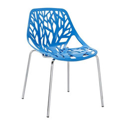 Modway - Stencil Dining Side Chair in Blue - Find your inner catalyst with this activating dining chair. Watch as a tree is carefully depicted in Stencil's telling journey between enigmatic forests and song-filled remembrances. Let sunlight filter through and nurture experiences of enduring light.