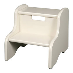 Little Colorado - White Step Stool - This handy step stool provides little ones with a boost when trying to reach the top shelves of bookcases or turn off a running faucet after brushing their teeth.   12'' W x 11'' H x 13'' D Medium-density fiberboard / birch plywood Recommended for ages 3 years and up Weight capacity: 100 lbs. Made in the USA