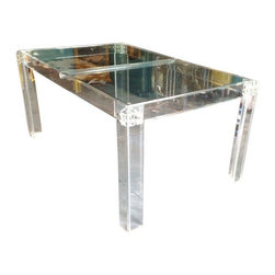 Vintage Palm Beach Style Lucite Dining Table - This lucite dining table is vintage Palm Beach.  Excellent craftsmanship of high quality lucite base with a glass top. Also looks fabulous as a desk!! Please note that the lucite is clear, not grey (it is just photographed on a grey concrete floor!).