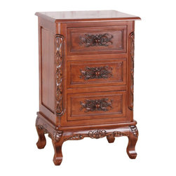 International Caravan - International Caravan Windsor Three End Table in Dual Walnut Stain - International caravan - End Tables - 3848 - Great table to use as an end table or as a night stand. Has three drawers that can be used to store those small items that you want out of site. Hand carving along the edges and on the front of the drawers gives it an elegant look that will enhance the look of any room. Made from a hardwood with a Dual walnut stain finish.