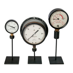 Salvatecture Studio - Set Of Three Vintage Industrial Gauges On Stands 6 - Gauges have been around as instruments of measurement and precision for ages. Here are three vintage ones to give your den or office an industrial vibe. This trio is mounted on reclaimed iron stands, and each gauge is distinctive in size and style. This could be the start of a fascinating collection!