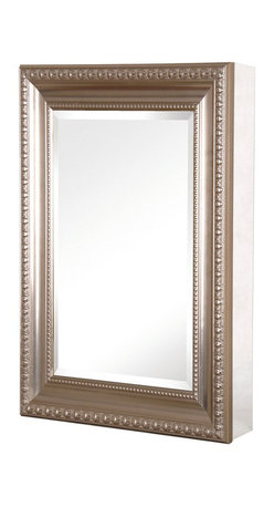 Pegasus - Deco Medicine Cabinet - SP4594 - Manufacturer SKU: SP4594. Includes side mirror and hanging kit. Adjustable glass shelves. Rust-free aluminum case with frame. Self-closing hinges open upto 110 degree. Recess or surface mount. Brushed nickel color frame. 15 in. W x 5.5 in. D x 26 in. H (25.6 lbs)