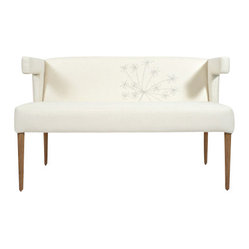 ecofirstart - Hazel Settee - Simple and elegant, this settee will complement any interior design. The unique shape and delicate bird embroidery make this a one-of-a-kind piece. It's available in 11 colors and without the embroidery, if you prefer.