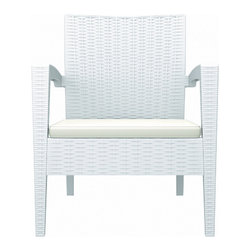 Siesta - Miami Resin Club Chair White (Set of 2) - -Made from commercial grade resin with gas injection molded legs, with non-skid rubber caps.