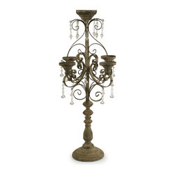 iMax - iMax Tracy Candle Chandelier Tabletop X-23086 - Nearly three feet tall, the Tracy candle chandelier has an inspiring presence and instantly adds elegance to any tabletop. Holds pillar candles.