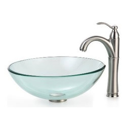 Kraus - Kraus Clear Glass Vessel Sink and Riviera Faucet Satin Nickel - *Add a touch of elegance to your bathroom with a glass sink combo from Kraus