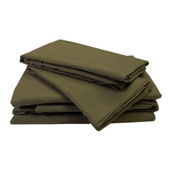 Divatex Home Fashions - Bronze Full Sheet Set Solid Color Bedding - FEATURES:
