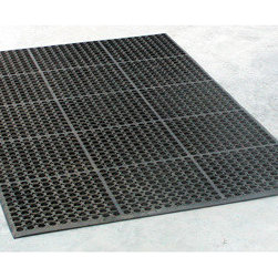 New Buffalo Corp. - Buffalo Tools 3 x 5 Foot Industrial Rubber Floor Mat - Anyone who has stood on a hard concrete floor for longer than a few minutes will tell you how hard the surface can be on your feet, knees and back. Reduce the fatigue and soreness with the Buffalo Tools Industrial Rubber Floor Mat. The 3 by 5 foot flexible Rubber Mat is 1/2 inch thick, giving you a large area to work on with plenty of cushion. The non-slip surface gives you more traction when grease and other liquids get spilled. Just spray it clean with a hose or power washer when it gets dirty. You can even use the Rubber Mat to provide cushion and a non-slip surface in the bed of your truck. 1/2 inch thick rubber