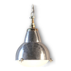 Kathy Kuo Home - Stranda Industrial Loft Aluminum Glass Pendant Light - A brilliant blend of modern industrial aluminum with antique encased milk glass, this is the perfect pendant light. Accented with antique brass and suspended from an adjustable, 3-foot chain, this flexible fixture will shed just the right light.