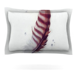 """Kess InHouse - Lydia Martin """"The Feather"""" Pillow Sham (Cotton, 40"""" x 20"""") - Pairing your already chic duvet cover with playful pillow shams is the perfect way to tie your bedroom together. There are endless possibilities to feed your artistic palette with these imaginative pillow shams. It will looks so elegant you won't want ruin the masterpiece you have created when you go to bed. Not only are these pillow shams nice to look at they are also made from a high quality cotton blend. They are so soft that they will elevate your sleep up to level that is beyond Cloud 9. We always print our goods with the highest quality printing process in order to maintain the integrity of the art that you are adeptly displaying. This means that you won't have to worry about your art fading or your sham loosing it's freshness."""