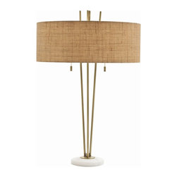 Arteriors - Jenson Lamp - Transitional desk lamp features 3 steel rods in vintage brass finish rising upward from round snow marble base. Topped with beige textured linen drum shade/off-white cotton lining and accented with a pair of decorative brass pull chains. Takes two 60 watt bulbs.