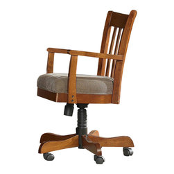 Riverside Furniture - Seville Square Desk Chair in Warm Oak Finish - A celebration of the classic office style loaded with function for today's home office. Use each piece alone or as a part of a coordinated home office collection.