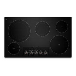 """KitchenAid - KECC664BBL 36"""" Smoothtop Electric Cooktop With 5 Radiant Elements  Double-Ring E - This 36-inch electric cooktop features Even-Heat Technology on two elements A 3200-watt 10-inch element features a range of simmer settings and a 1300-watt 6-inch element features a range of melt settings Plus the versatility of two double-ring eleme..."""