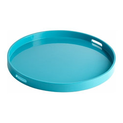Round Turquoise Lacquer Tray - Large - *Large Estelle Tray