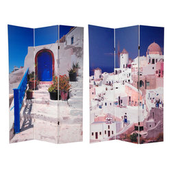 Oriental Furniture - 6 ft. Tall Double Sided Santorini Greece Room Divider - One of the Mediterranean's most beautiful countries. Images of ancient Greece are still popular for much of the western world. But, for a much more contemporary look, we've chosen two beautiful sun soaked color photos of one of Greece's most popular tourist destinations, printed on both sides of a solidly crafted, folding floor screen room divider.