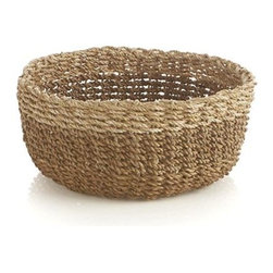 Muse Natural Basket - A pale tan band rims the darker neutrals of our chunky basket handwoven of lampakanay and abaca fibers. Great for serving breads, storing fresh vegetables or serving as a countertop catchall.