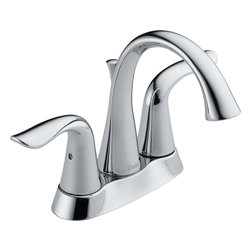 "Delta - Delta 2538-TP-DST Lahara Series Two-Handle Deck-Mounted Lavatory Faucet - The Delta 2538-TP-DST is a Lahara Series two handle Deck-Mounted Lavatory Faucet. This 4"" centerset lavatory faucet features an elegantly swooped styling that is sure to complement any bathroom decor. It has a 5"" long, 6-3/8"" high rigid spout, and two lever handles for easier temperature manipulation. It comes with 1/4 turn handle stops, 3/8"" (O.D.) straight 32"" PEX supply tubes, and a polypropylene/plated metal pop-up drain assembly for easy installation in any 3-hole sink application. This faucet is ADA/CalGreen compliant, has a 1.5 GPM flow rate, and comes in a bright, Chrome finish. **This faucet will be available after January 14th, 2013**"