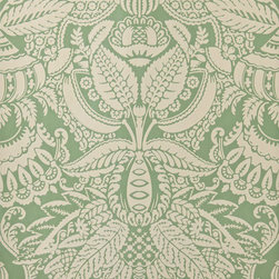 Orangerie Wallpaper - The Wythe Hotel in Brooklyn, N.Y. uses a signature wallcovering in a bright green and ivory print. Farrow & Ball provides papers that can be rolled in a number of colorways, and the highly detailed damask is a close match.