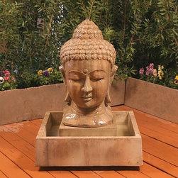 """Buddha Head Outdoor Fountain - Small - Dimensions: 40""""H x 32""""W x 32""""D"""