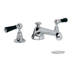 Lefroy_Brooks - Lefroy Brooks - Mackintosh Black Lever 3 Hole Basin Mixer - BL1228-AG - With Pop Up Waste