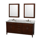 """Wyndham Collection - Hatton 72"""" Dark Chestnut Double Vanity w/ White Carrera Marble Top & Oval Sink - Bring a feeling of texture and depth to your bath with the gorgeous Hatton vanity series - hand finished in warm shades of Dark or Light Chestnut, with brushed chrome or optional antique bronze accents. A contemporary classic for the most discerning of customers. Available in multiple sizes and finishes."""