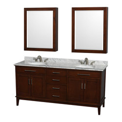 "Wyndham Collection - Hatton 72"" Dark Chestnut Double Vanity w/ White Carrera Marble Top & Oval Sink - Bring a feeling of texture and depth to your bath with the gorgeous Hatton vanity series - hand finished in warm shades of Dark or Light Chestnut, with brushed chrome or optional antique bronze accents. A contemporary classic for the most discerning of customers. Available in multiple sizes and finishes."