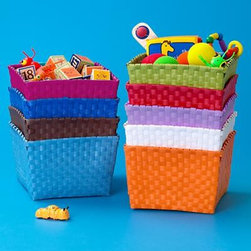 Woven Strap Shelf Basket - Our storage is, dare we say, quite strapping. Colorful resin straps are woven over a sturdy steel frame. Good looking, practical and affordable.