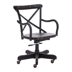 """Zuo - Zuo Union Square Black Office Chair - European style black office chair. Versatile X-back design. Solid wood frame with antiqued metal accents. Adjustable seat height. A chic addition to your home from Zuo Modern. 19 1/2"""" wide. 17"""" deep. Height adjusts from 34 3/4"""" - 39 3/4"""". Seat is 19 1/4"""" wide and 17 1/4"""" deep. Seat adjusts from 16"""" - 21"""" high. Arm height adjusts from 25"""" - 30"""". Some assembly required.  European style black office chair.  Versatile X-back design.  Solid wood frame with antiqued metal accents.  Adjustable seat height.  A chic addition to your home from Zuo Modern.  19 1/2"""" wide.  17"""" deep.  Height adjusts from 34 3/4"""" - 39 3/4"""".  Seat is 19 1/4"""" wide and 17 1/4"""" deep.  Seat adjusts from 16"""" - 21"""" high.  Arm height adjusts from 25"""" - 30"""".  Some assembly required."""