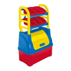 American Plastic Toys Toy Organizer - This sturdy Toy Organizer has a place for everything in your child's room. With plenty of room in the storage chest below and lots of additional space in six interchangeable storage bins above there's no better way to get organized. The bins are ideal for smaller toys like action figures and doll accessories. Children can remove the bins for play and replace them for storage. Ages 2 and up. Dimensions: 24.25L x 13.875W x 37H inches.About American Plastic ToysAmerican Plastic Toys has proudly manufactured safe toys in the United States since 1962. The company's product line includes more than 125 different items ranging from a simple sand pail to a play kitchen set. American Plastic Toys assembles every one of the toys in its product line in the United States. Most of the components in American Plastic Toys products are molded in the company's own plants or purchased from U.S. companies. Toys with imported components (mostly sound components and fasteners - no painted components) represent only 25 percent of the entire product line. Every American Plastic Toys product is tested by at least one independent U.S. safety-testing lab to ensure that it complies with applicable safety standards.