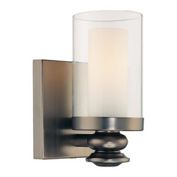 Minka Lavery - Minka Lavery 6360-281 Harvard Court Bronze 1 Light Wall Sconce - Clear and Etched Opal Glass Shade