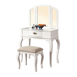 Adarn Inc. - Tri Folding Mirror Vanity Set Wooden Make up Table Cushion Bench Drawer, White - Create your female corner in your bedroom with this lovely and comfortable vanity set. The set includes vanity and stool. Vanity has a spacious drawer with antiqued bronze finish handle. A tri-folding mirror is a great advantage, because you can see yourself with all sides. Vanity has a cherry / oak / white / black finish, and comes complete with matching stool, which is upholstered in upholstered in patterned beige fabric.
